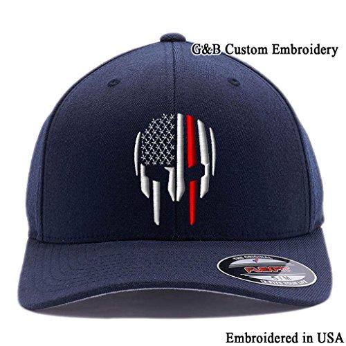 Thin RED LINE Spartan Helmet Cap. Embroidered. 6477 Flexfit (L/XL, Dark Navy)