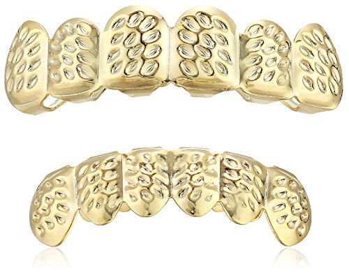 Men's 18K Gold Plated Brass Pepper Hammered Grillz Set Body Jewelry, Yellow, One Size ()