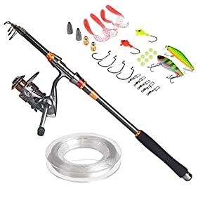 PLUSINNO Travel Spinning FULL Fishing Rod Combos Carbon Telescopic Fishing Rod Pole with Reel Line Lures Hooks and Accessories Combo Sea Saltwater Freshwater Kit Fishing Rod Kit