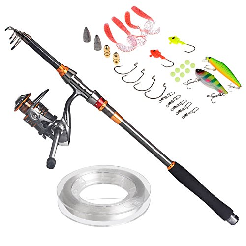 Plusinno Travel Spinning Fishing Rod Combos Carbon