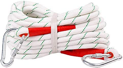 MEI XUクライミングロープ ダブルフック18ミリメートルダブル織物空中作業ロープレスキューロープ空調設備屋外設備安全ロープ高層ビル外観清掃用ロープ (Size : 60M)