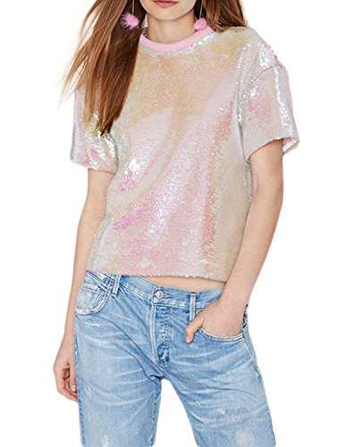 Candy Womens Pink T-shirt (haoduoyi Womens Sequins Candy color Short Sleeve T-shirt (M))