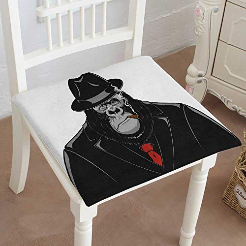 Mikihome Classic Decorative Chair pad Seat Monkey in a Suit Gangster Cushion with Memory Filling ()