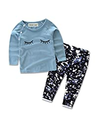 Baby Girl Glasses Long Sleeve Top + Pants 2 Pieces Clothing Set