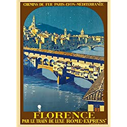 Florence Italy Par le Train de Luxe Rome - Express Italian Europe European Original Travel Collectible Wall Decor Poster Print. Poster measures 10 x 13.5 inches.