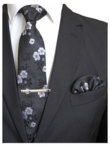 JEMYGINS Silk Black White Floral Necktie and Pocket Square, Hankerchief and Tie Bar Clip Sets for Men (6)