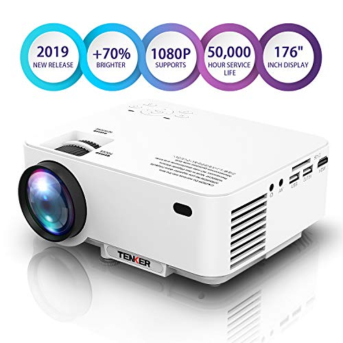 Projector, Upgraded TENKER Projector, 70% Brighter, Mini Home Theater Movie Projector with 4.0