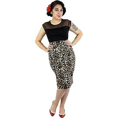 d46f0db0cdc7 Amazon.com: Hemet Pin Up Leopard Pencil Skirt: Clothing