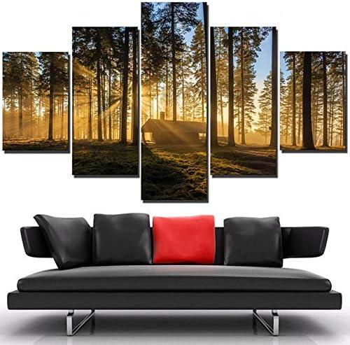 Jason Ming 装飾ポスターHdプリントフレームリビングルーム5パネルPcsフォレスト小さな家サンシャイン現代壁アート写真