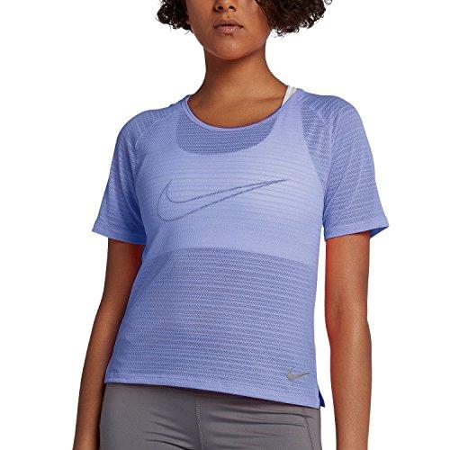 (NIKE Women's Miler Short-Sleeve Running Top (Purple Slate/Heather, M))