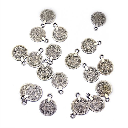 Gypsy Beachy Chic Carving Flower Coin Charms Statement Necklace Festival Ethnic Turkish India Tribal Lots (20pcs) (Gypsy Coins)