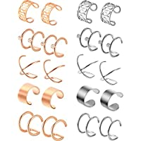 Jovitec 10 Pairs Stainless Steel Ear Cuff Helix Cartilage Clip on Earrings Non Piercing Cartilage Earrings for Women Girls Supplies, 5 Styles (Steel and Rose Gold)