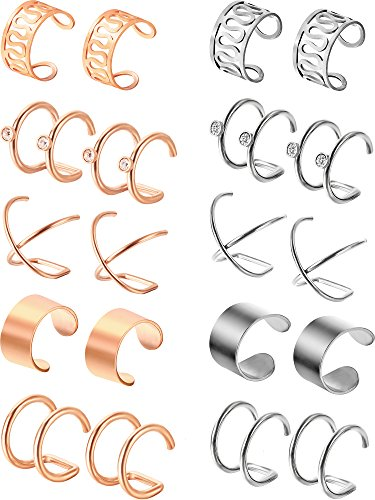 Jovitec 10 Pairs Stainless Steel Ear Cuff Helix Cartilage Clip on Earrings Non Piercing Cartilage Earrings for Women Girls Supplies, 5 Styles (Steel and Rose Gold) for $<!--$11.99-->
