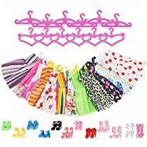 ASIV 36 Pcs Accessories for Barbie Dolls, 12 Pcs Clothes Dress +12 Pairs of Shoes +12 Hangers for GirlsGift