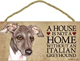 (SJT63942) A house is not a home without an Italian Greyhound (gray & white) wood sign plaque 5