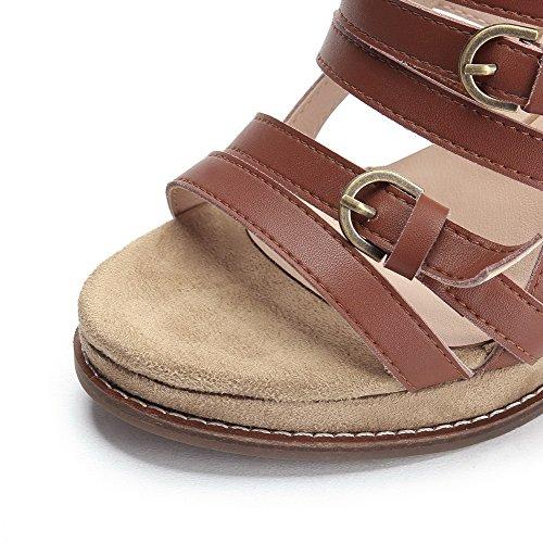 Allhqfashion Donna Open Toe Sandali Con Tacco Alto In Pelle Di Mucca Marrone