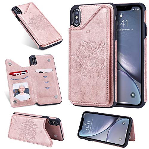 DAMONDY Wallet Case for iPhone Xs Max,Emboss Tree Cat Slim Protective Case with Credit Card Slot Holder Flip Folio Soft PU Leather Magnetic Closure Cover Case for iPhone Xs Max 6.5-Inch-Rose Gold