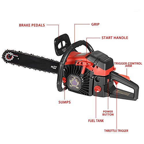 58cc 2 Stroke Gas Powered Chainsaw Rancher Chain Saw Kit, Bar Cover and Tool Kit Garden Home Use (58cc) by ferty