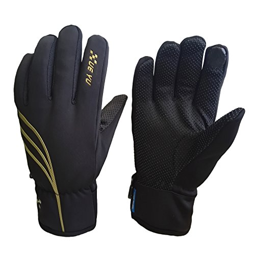 Waterproof Winter Gloves for Men and Women, Windproof Touchscreen Thermal Warm Gloves Mountain Made Outdoor Gloves for Running, Cycling (Black-Gold, XXL)