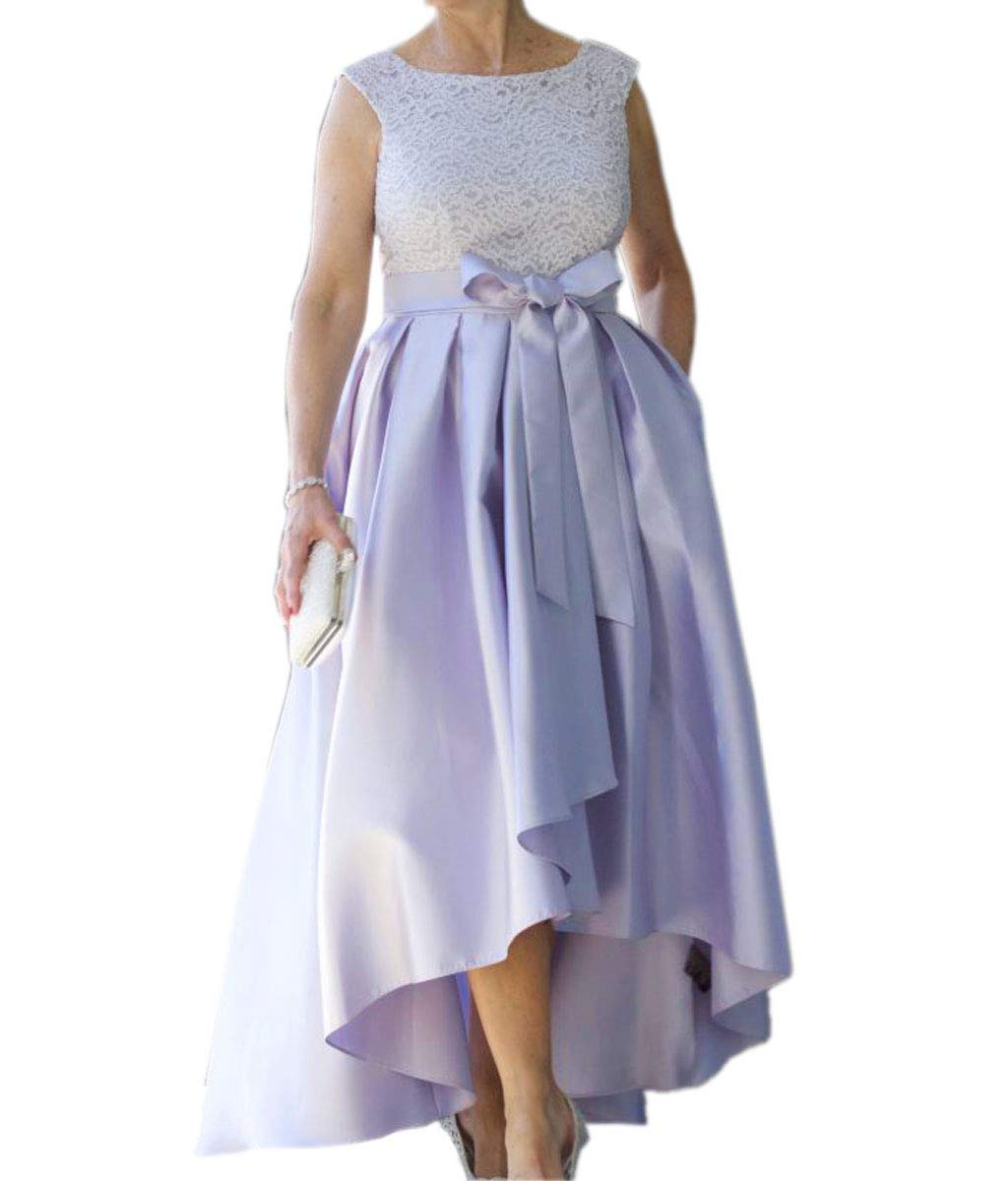 Mauwey Women\'s Plus Size High Low Lace Satin Mother of The Bride Dresses  Bow Belt Prom Bridal Wedding Party Lavender