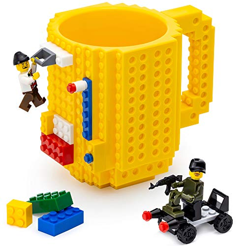 TOYAMBA Build-on Brick Mug - (Yellow) Funny Coffee Mug with Bricks, Funny Cups for Kids - Creative Building Block Mug DIY Gift Idea