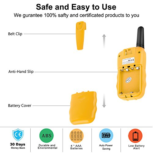 WisHouse Walkie Talkies for Kids, Toys for Boys and Girls Best Handheld Walky Talky with Flashlight,VOX Function,Share Your Happiness with Family and Friends Halloween(T388 Yellow 4 Pack) by Wishouse (Image #6)