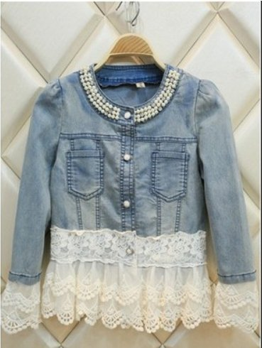 Jeans Jacket Women Casacos Feminino Slim Lace Patchwork Beading Denim Lady Elegant Vintage Jackets Coat Size:XL