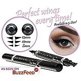 Eyeliner Stamp - WingLiner by Lovoir, Waterproof Make Up, Smudgeproof, Winged Long Lasting Liquid Eye liner Pen, Vamp Style Wing, 2 Pens In A Pack (10mm Classic)
