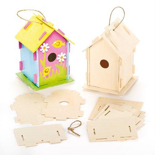 Kits de Casitas de Madera para Pájaros para Diseñar Pintar y Decorar. Manualidades Creativas para Niños (Pack de 2)