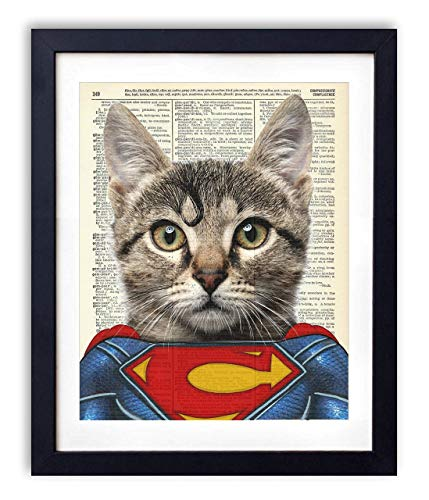 (SuperCat, Superman Cat Justice League Superhero Kids Bedroom Wall Decor, Vintage Wall Art Upcycled Dictionary Art Print Poster For Kids Room Decor 8x10 inches, Unframed)