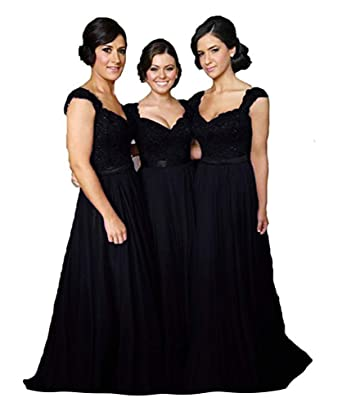 fa686df89be6c Fanciest Women' Cap Sleeve Lace Bridesmaid Dresses Long Wedding Party Gowns  Black US2