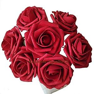50 pcs Artificial Flowers Foam Roses for Bridal Bouquet Bouquets Wedding Centerpieces Kissing Balls (Red)