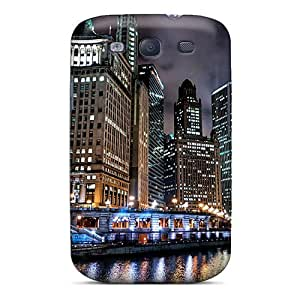 Ultra Slim Fit Hard Dana Lindsey Mendez Case Cover Specially Made For Galaxy S3- Chicago River At Night Hdr