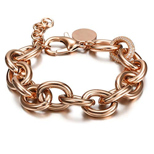 CIUNOFOR CZ Bracelet for Women Girls Wide Cuban Curb Link Bracelet Italian Style Oval Bracelet Silver Rose Gold Plated Adjustable Stainless Steel Chain with Round Disc Charm (Rose Gold)