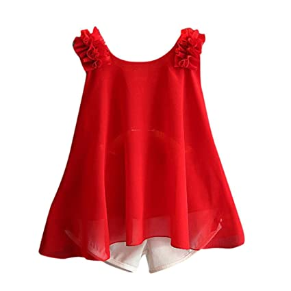 269b0ad3e0 Image Unavailable. Image not available for. Color  Wensltd Toddler Kids  Baby Girls Chiffon Vest T-Shirt+Bow Short Pants 2pcs Outfit