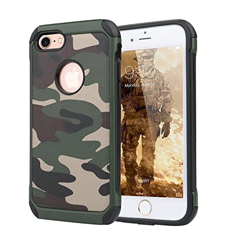 Kingsource iPod Touch 6 Tough Armor Case with Extreme Heavy Duty Protection,Dual Layer Military Army Defender Camouflage Shockproof Rugged Impact Super Protective Case Army Green