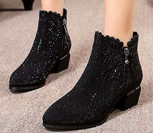 2018 Alti Heel Scarpe Fashion Black Da Donna Basse Tacchi New Winter Shiney Stivaletti Chunky vp8qtgwvx1