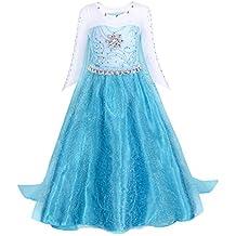 Cotrio Elsa Dress Toddler Dress Up Princess Costume Girls Dresses With Cape (Blue)