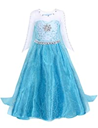 AmzBarley Elsa Dress Girls Costume Princess Cosplay Party Cape Kids Clothes