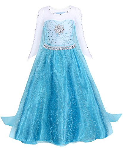 Cotrio Princess Elsa Costume Dress Up Toddler Halloween Costumes Girls Cosplay Party Dresses Kids Outfits Size 3T (100, 2-3Years) Blue]()
