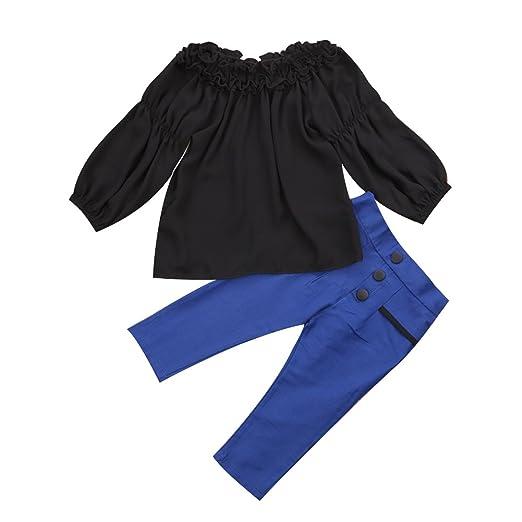 086578b2f0f0 Amazon.com  Kids Toddler Baby Girls Off Shoulder T-Shirt Tops+Long ...