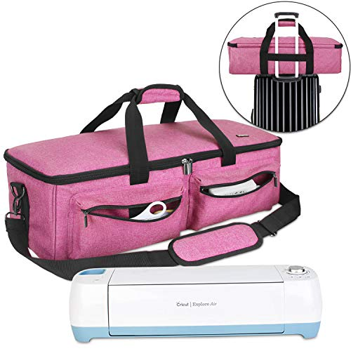 Luxja Carrying Bag Compatible with Cricut Explore Air and Maker, Tote Bag Compatible with Cricut Explore Air and Supplies (Bag Only), Pink