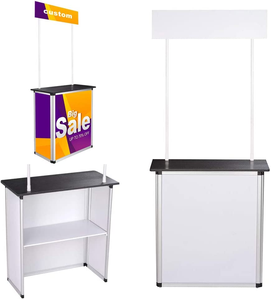 Promotion Counter Table, Exhibition Display Demo Foldable Trade Show Table Display with Carrying Bags for Exhibition Promotion Retail Shelf Great for Distributing Samples Product Demos