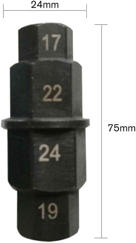 Roues de moto Acier Moto Essieu avant Socket Driver Cl/é /à douille de broche Cl/é hexagonale automatique 17mm 19mm 22mm 24mm-Noir