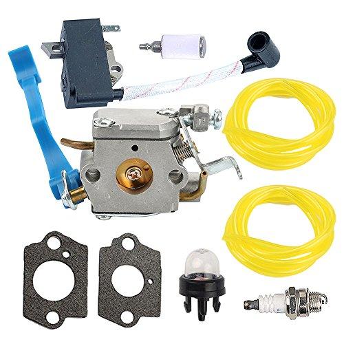 Carburetor with Gasket Ignition Coil Spark Plug Fuel Line Primer Bulb Fuel Filter for Husqvarna 125B 125BX 125BVX Leaf Blower Trimmer Replace ZAMA C1Q-W37 ()