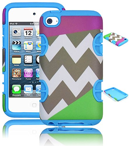 Bastex Hybrid Hard Case for Apple Ipod Touch 4, 4th Generation - Sky Blue Silicone with Purple & Green Chevron Pattern Shell Cover -