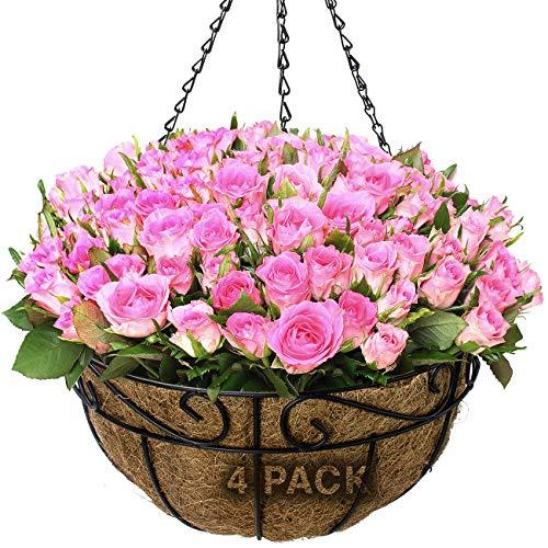 Flower Baskets Outdoor (Sorbus Planter Basket Set, Hanging Flower Pot Basket & Liner for Indoor/Outdoor Garden Décor, Perfect for Home, Garden, Patio, Deck (4-Pack))