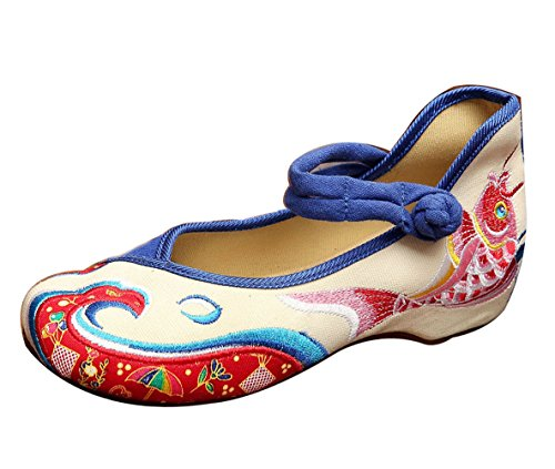 Embroided and Marry Women's Shoes Blue White Jane Insun Flat w5ft0Cxxq