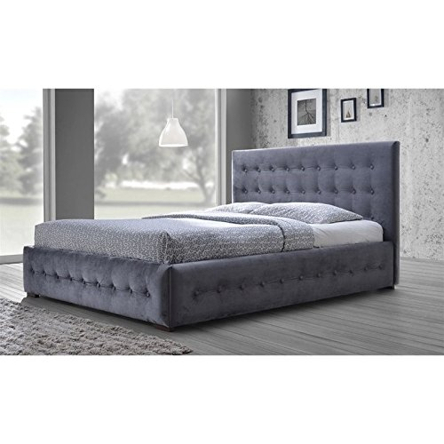 Baxton Studio CF8538-Queen-Grey Wholesale Interiors Margaret Modern and Contemporary Velvet Button-Tufted Platform Bed, Queen, Grey