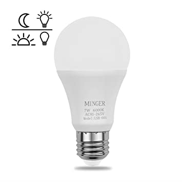 MINGER Sensor Lights Bulb, 7W Smart Automatic Dusk To Dawn LED Bulbs With  Auto On